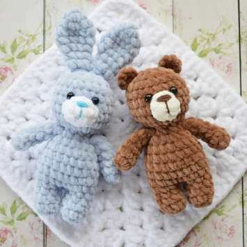 Мишка и зайка амигуруми