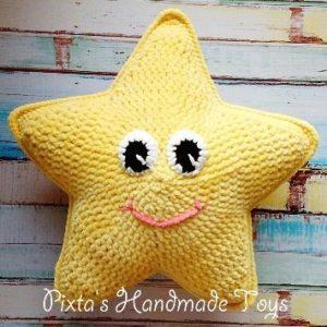 Вязаная подушка звезда крючком