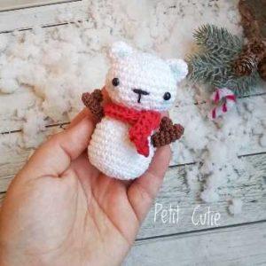 Вязаный снеговик мишка амигуруми