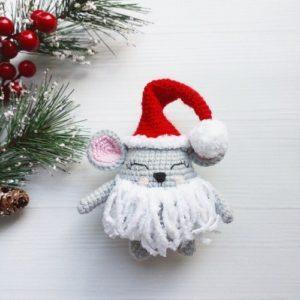 Новогодний мышонок гном крючком