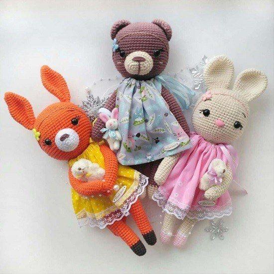 Вязаные игрушки белка зайка мишка