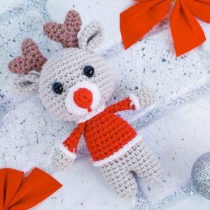 Рождественский олененок крючком